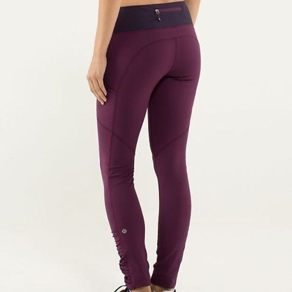 Lululemon plum speed tights Size 4, no size dot but measures approximately 13 inches across waist ,  Color : plum ,  Speed tights ,  In very good condition : no stains or damage , just very light wash wear but not noticeable ,  From a smoke free home ,  Pp accepted , no trades please lululemon athletica Pants