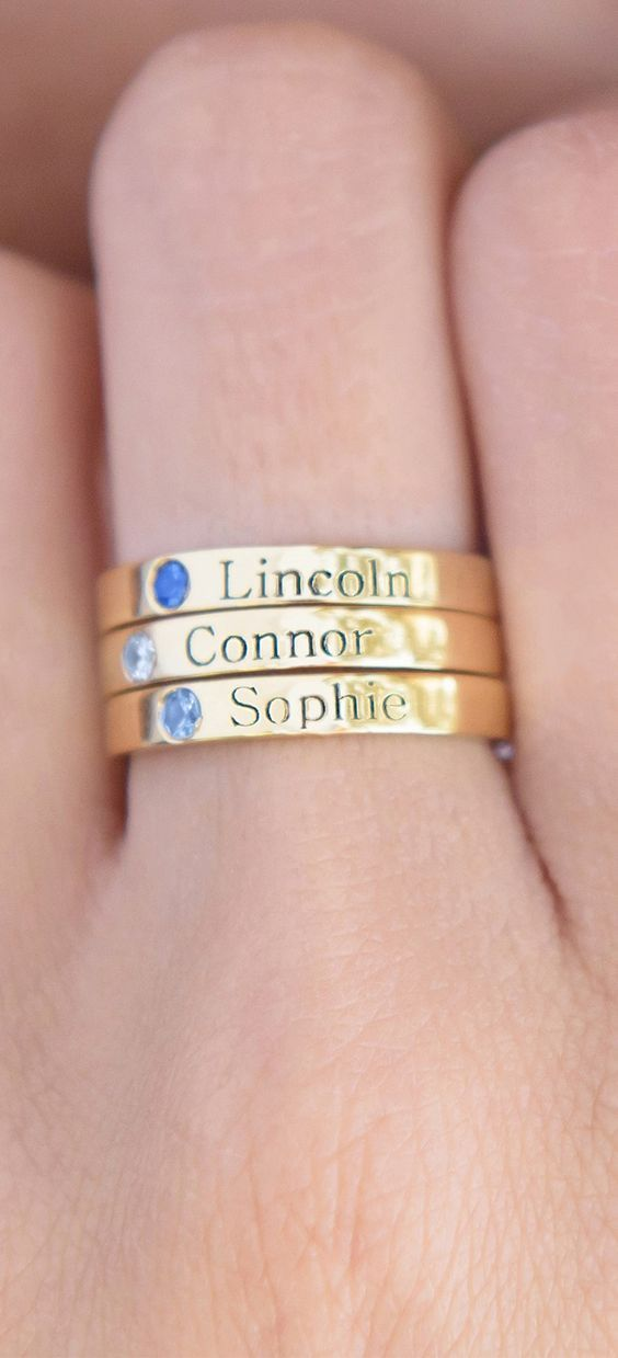 962c146be44c8b Your Stack Reflects your Family! The perfect personalised rings with  birthstones in Silver, Gold or Rose Gold Free Resize & Christmas Delivery