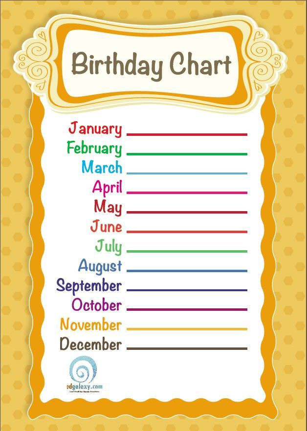 Free Printable Classroom Birthday Chart Edgalaxy