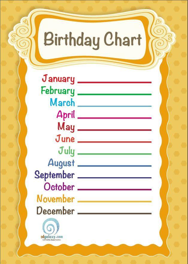 Birthday Calendar For Classroom : Free printable classroom birthday chart charts