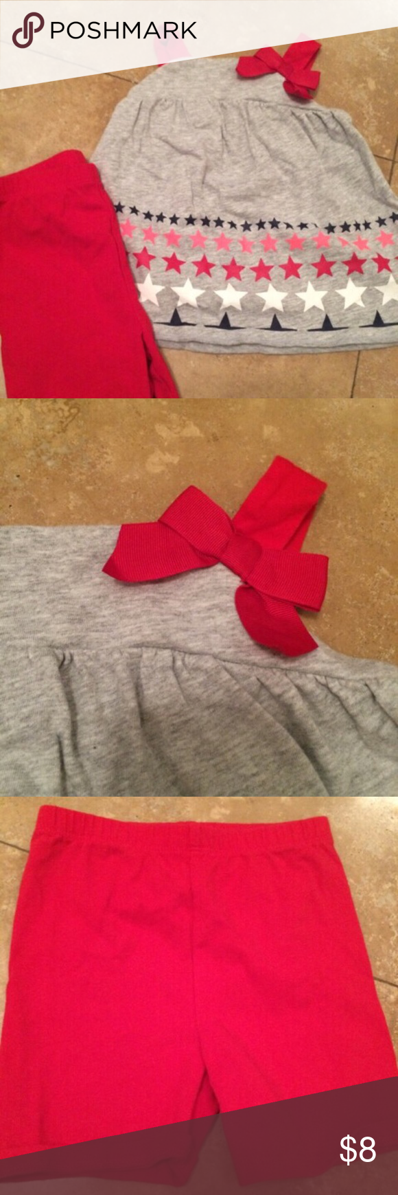 Circo star set Grey tank with bows and stars with red shorts.  Very good condition! Circo Matching Sets
