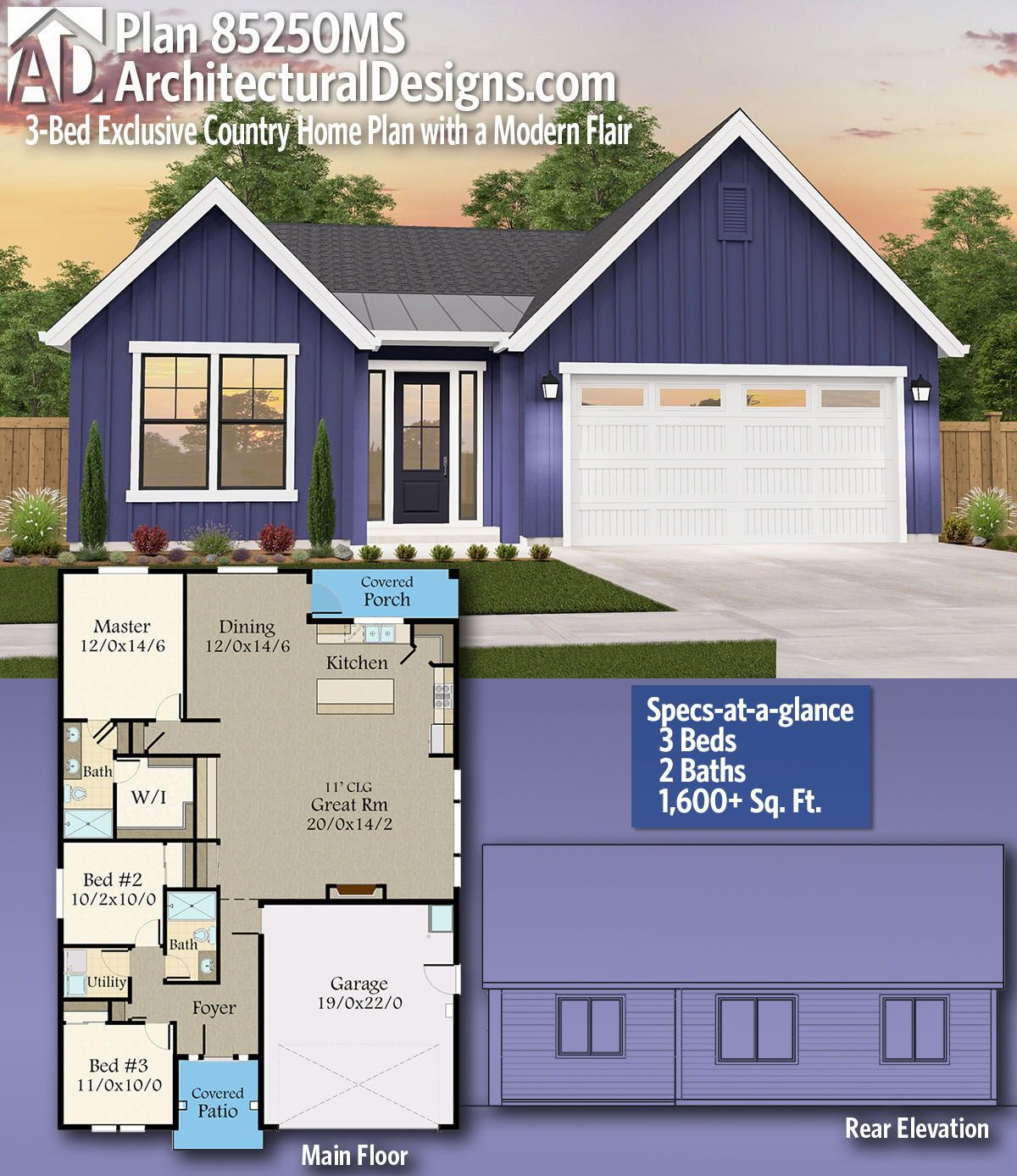 Plan 85250ms 3 Bed Exclusive Country Home Plan With A Modern Flair Country House Plans Simple Floor Plans House Plans Farmhouse