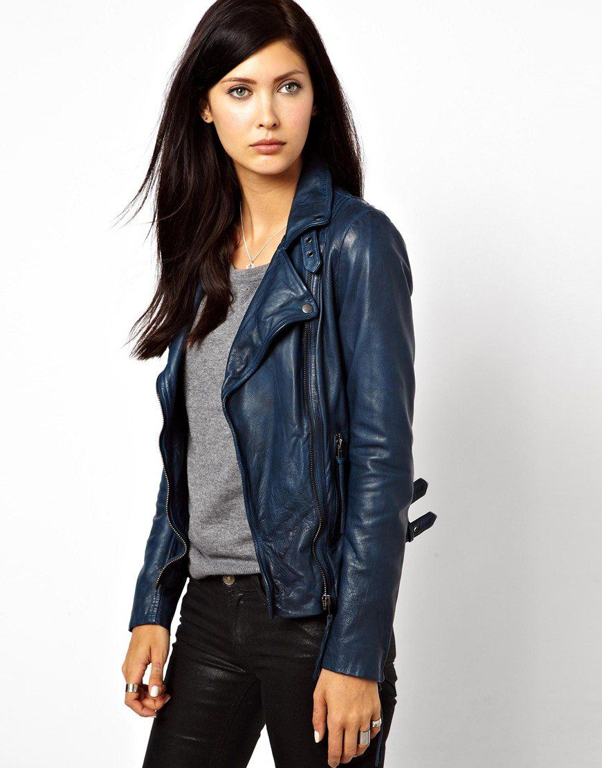 Muubaa Reval Lambs Leather Jacket With Buckle Detail By Neck And Hem Blue Leather Jacket Outfit Blue Leather Jacket Leather Jacket Outfits [ 1110 x 870 Pixel ]