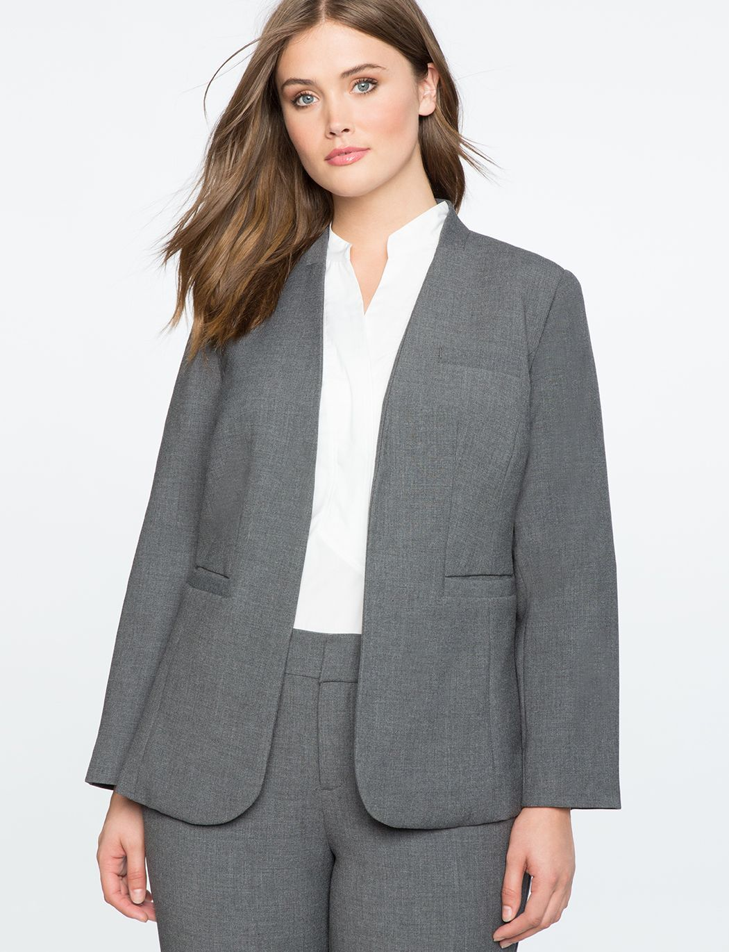 21fdff5247ed3 Charcoal Heather Kiss Front Blazer Charcoal Heather. Charcoal Heather Kiss  Front Blazer Charcoal Heather Plus Size Blazer
