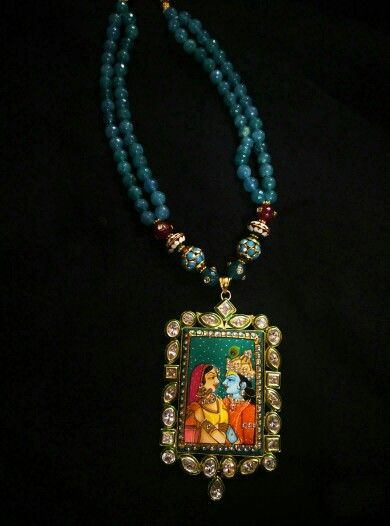 Hand painted radha krishna pendant with high quality kundan in hand painted radha krishna pendant with high quality kundan in jaipuri and onyx beads aloadofball Gallery