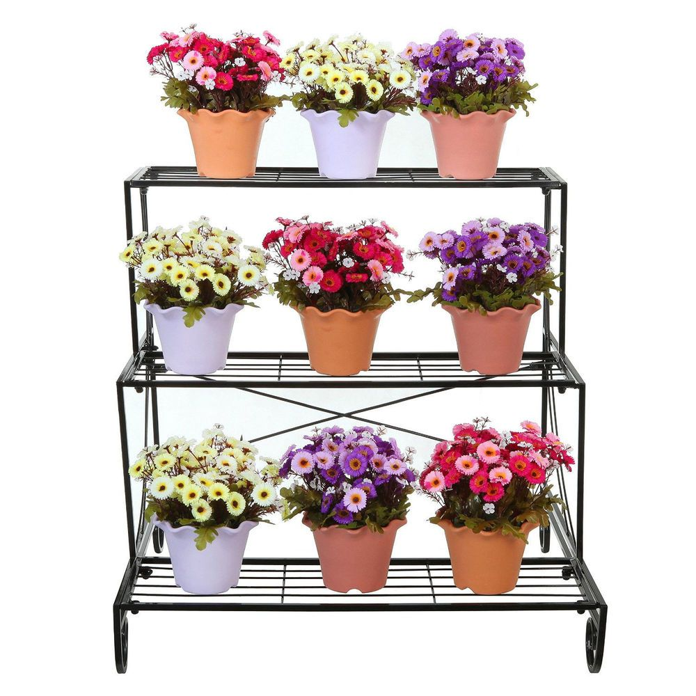 Metal Plant Stand 3 Tier Flower Pot Holder Outdoor Garden Patio