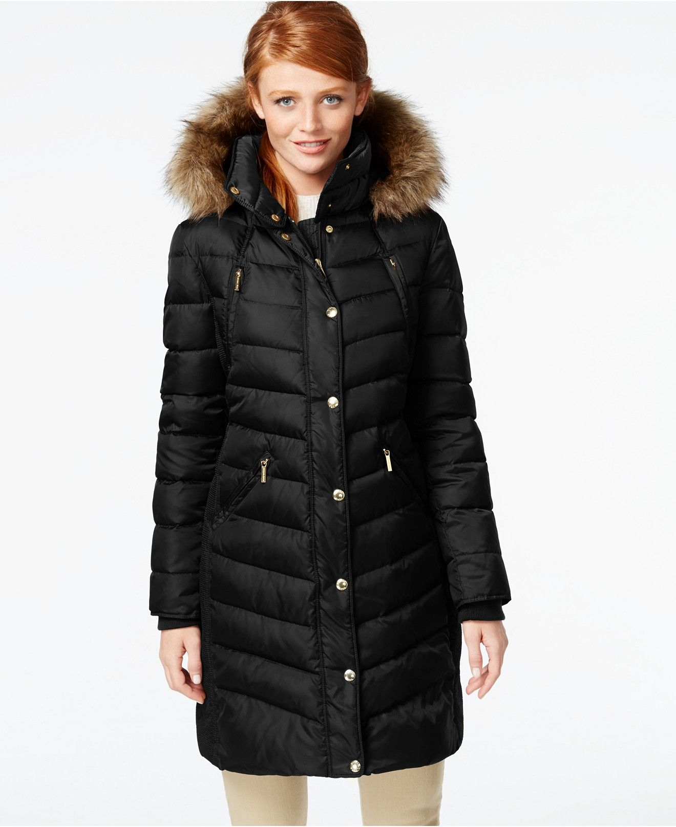 MICHAEL Michael Kors Hooded Faux-Fur-Trim Down Puffer Coat - Coats ...