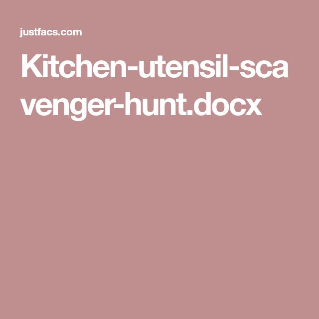Kitchen-utensil-scavenger-hunt.docx | Kitchen skills | Pinterest ...