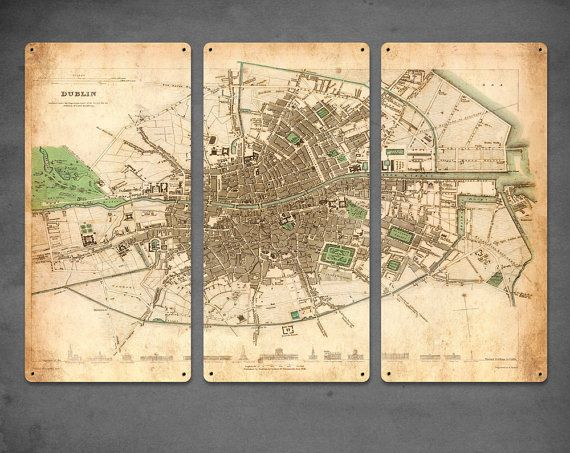 Vintage Map Of Dublin Ireland METAL Triptych X Pinterest - Old maps of dublin