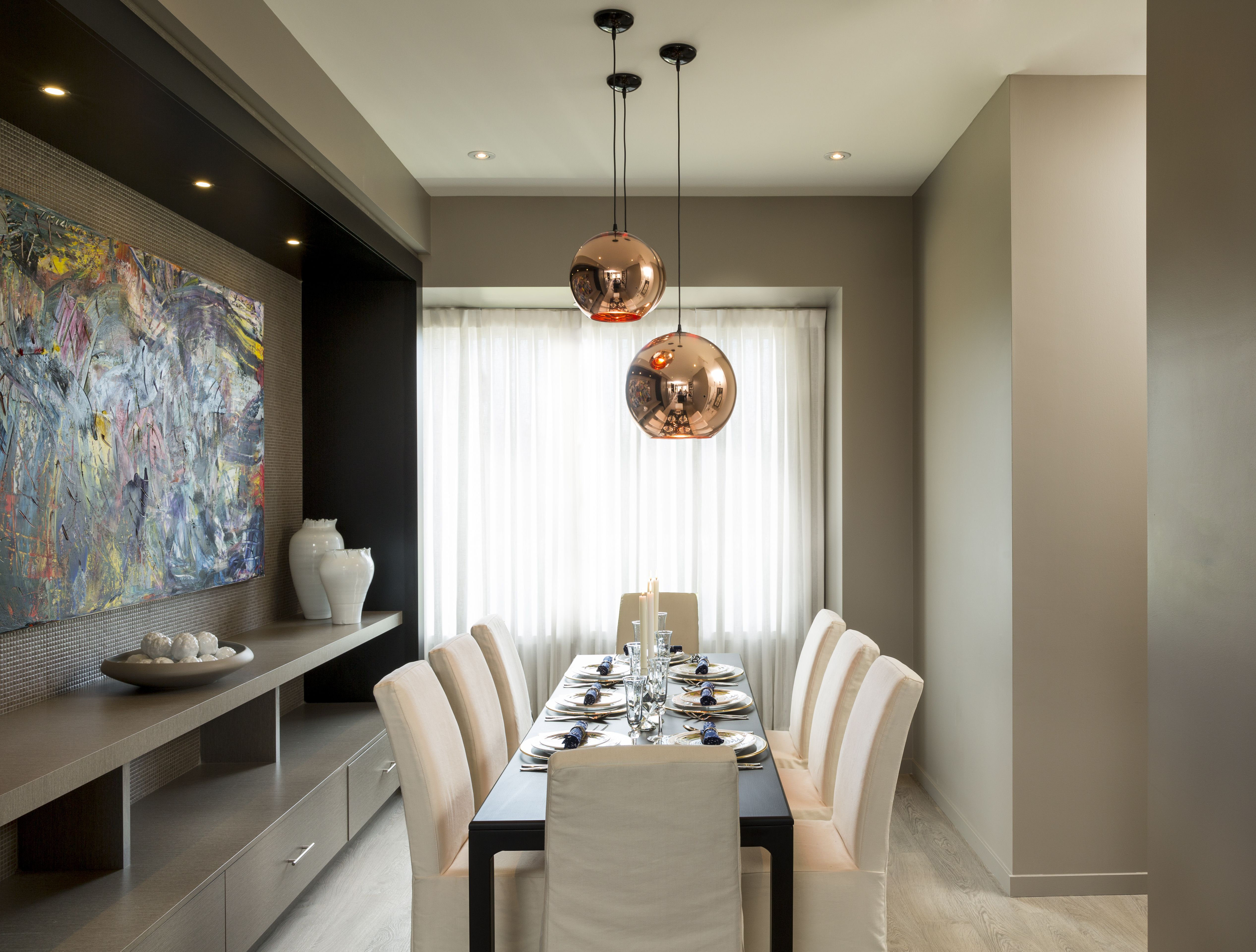 Built In Buffet Table And Modern Light Fixtures To Add A Contemporary Feel To Our Urban Tow Dining Room Contemporary Dining Room Buffet Dining Room Table Decor