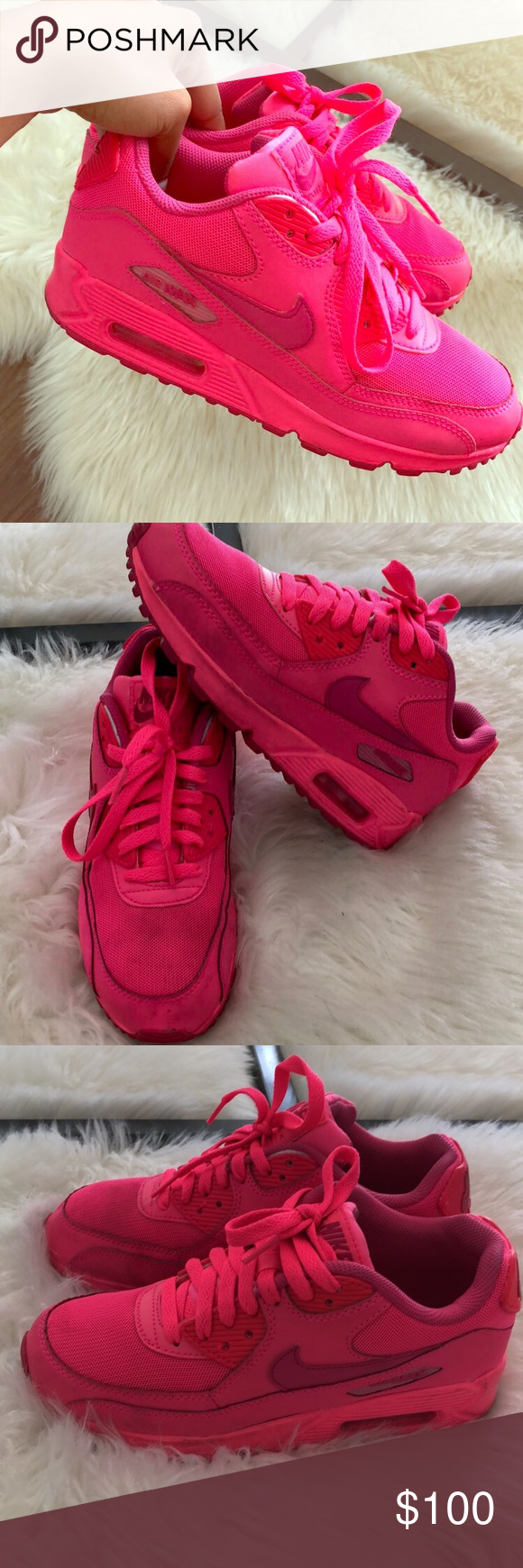 Nike Air Max 90 s (Hot Pink) Purchased from Flight Club in NYC. There are a  few scuff marks on both shoes 8fb391606