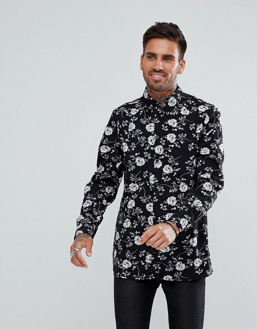 BOOHOOMAN LEAF PRINT - Camisa informal - white H8cQ7mS9d5