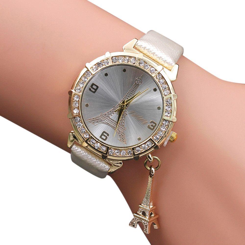 Women Quartz Dress Watch Lady Love Eiffel Tower Round Analog Mesh Strap Stainless Steel Bracelet Watch Montre Homme 2017 Lover's Watches