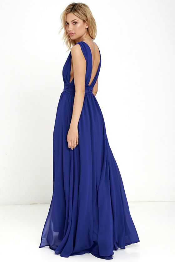 20fa4293b31 You ll be goddess-like for the entire evening in the Heavenly Hues Royal  Blue Maxi Dress! Georgette fabric drapes alongside a V-neck and back