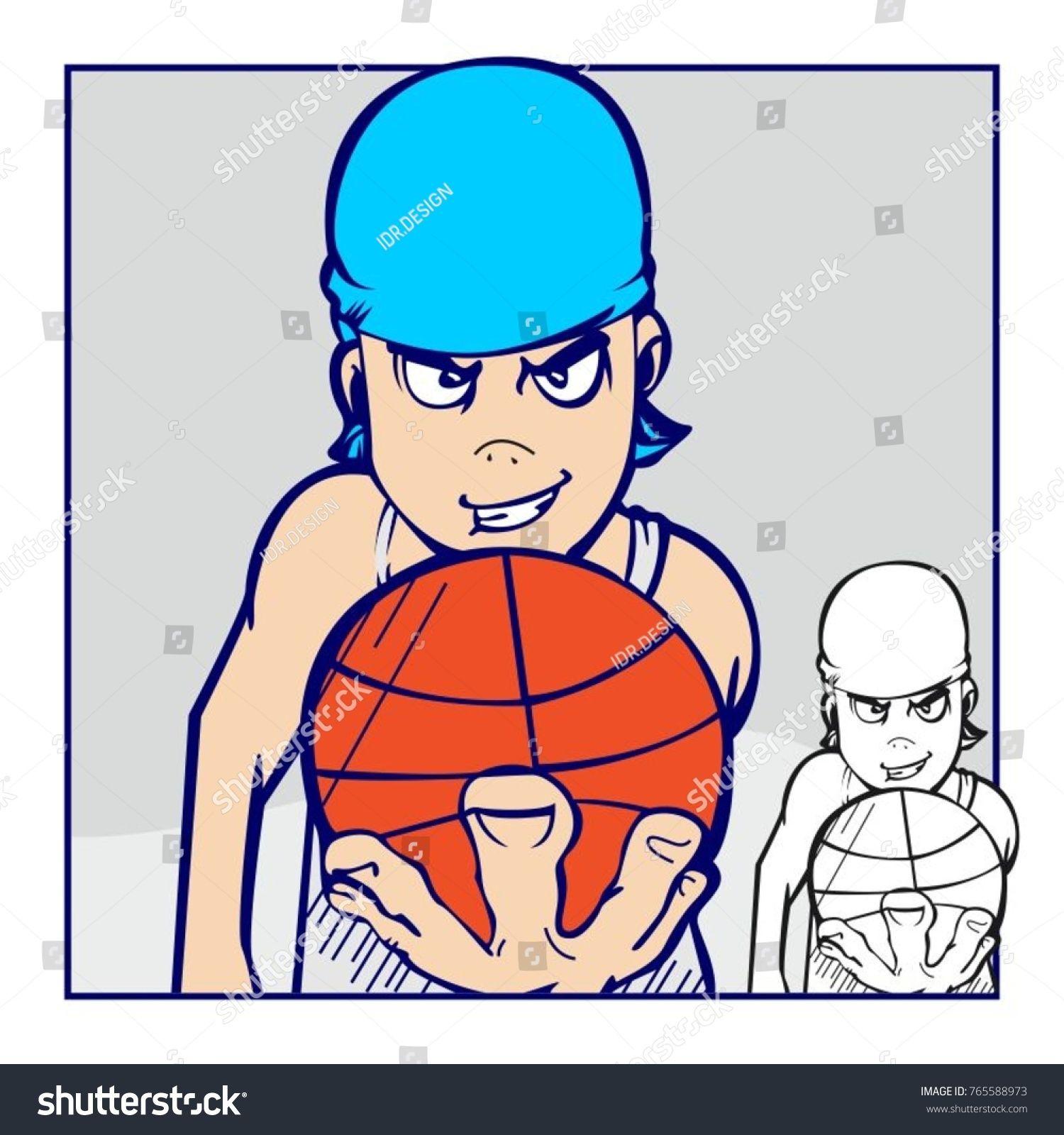 Vector illustration comic basketball player