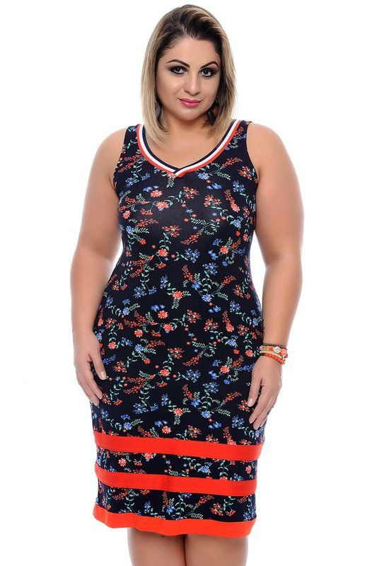 9ce351e5b DESCRIÇÃO Vestido Plus Size Astrid. Vestido midi produzido em viscose, gola  em formato v