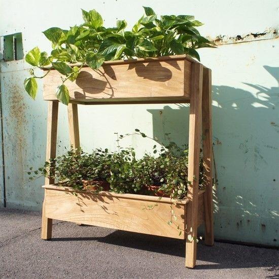 アンティーク調 2段 ウッド プランターラック 園芸ラック 木製 組立式