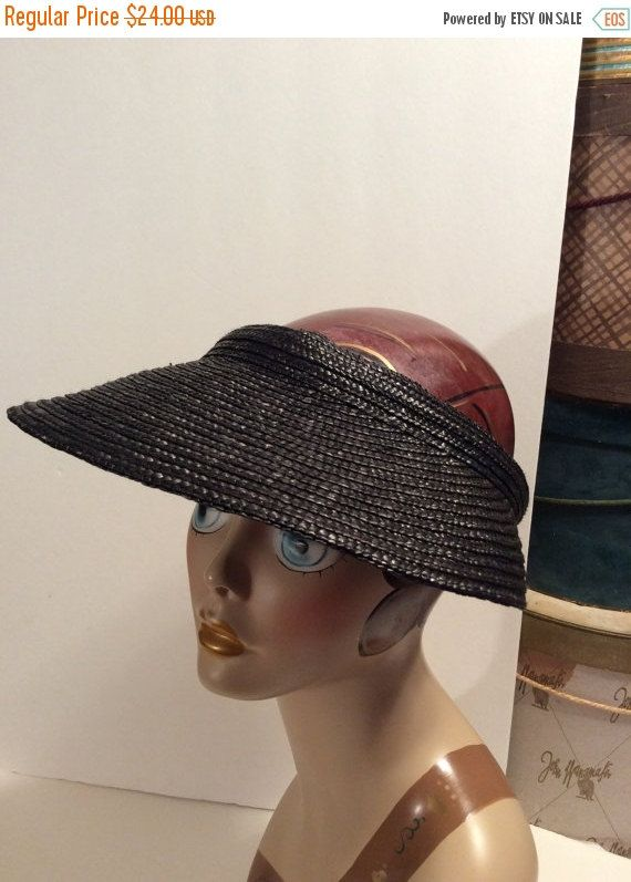 20% OFF SALE Vintage Scala Wide Brim Natural Black Straw Sun Visor ... 446bc05073a