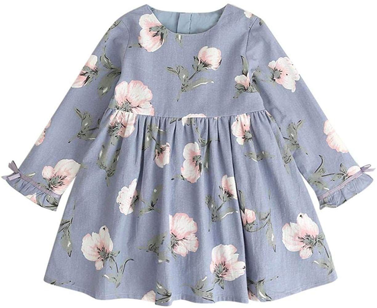Toddler Baby Kid Girls Long Sleeve Flower Party Princess Dress Outfits Clothes