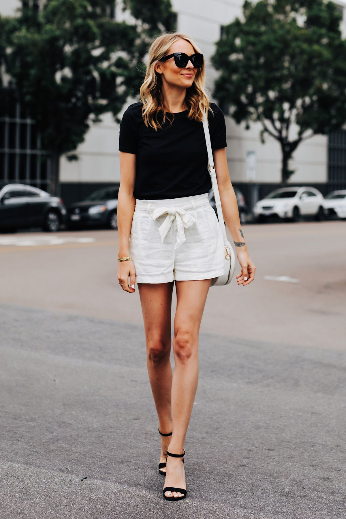 Fashion Jackson Wearing Black Tshirt White Tie Front Shorts Black Heeled Sandals Classy Casual Outfits Fashion Jackson Stylish Summer Outfits [ 1800 x 1200 Pixel ]