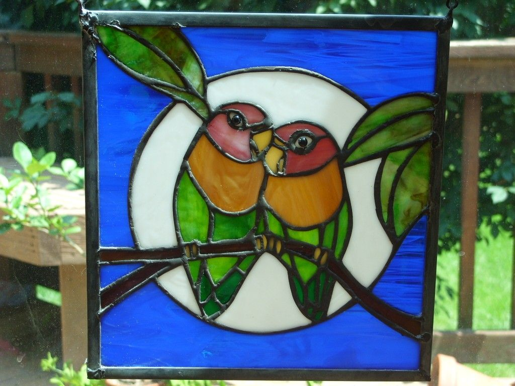 Love Birds Stained Glass Panel Glass Birds Stained Glass Crafts Stained Glass Diy