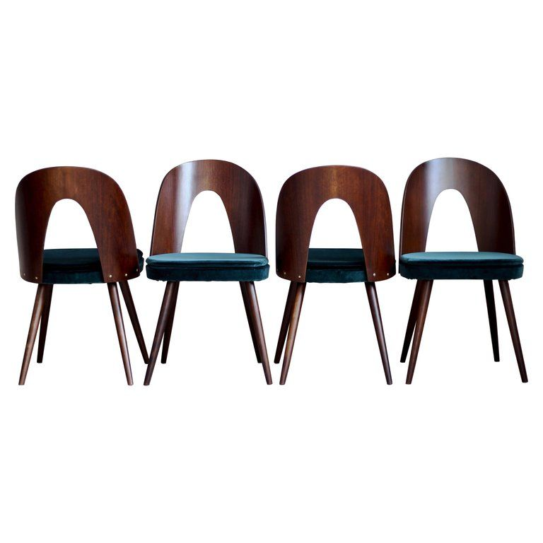 Set Of 4 Dining Chairs By Antonin Suman In Green Velvet By Kvadrat