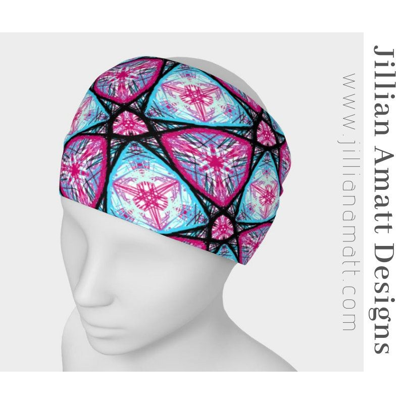 Headband Pink And Blue Starburst Pattern Headband Funky