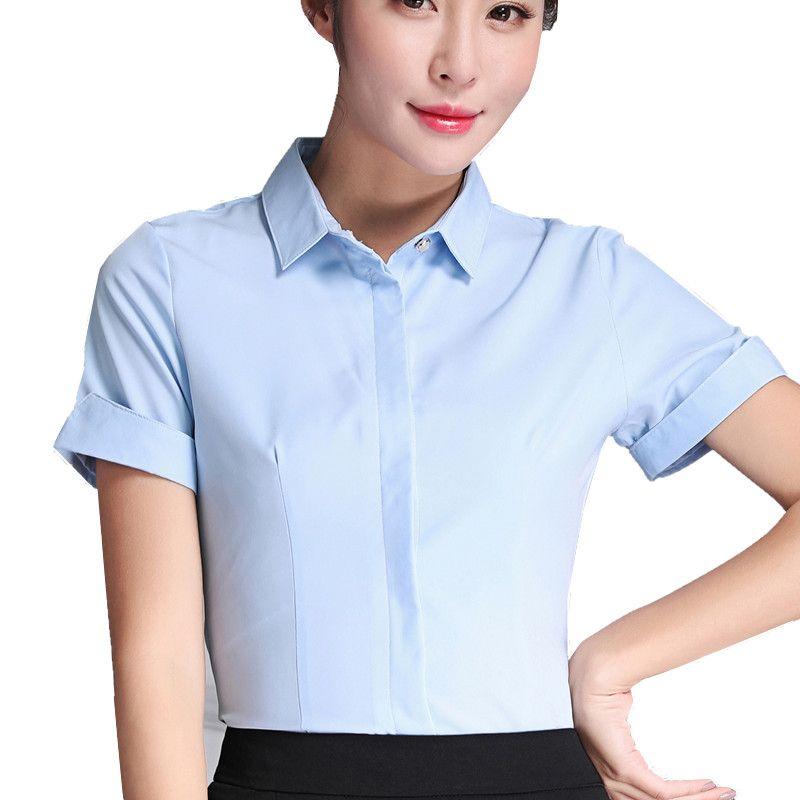 64e05152de3 2017 Solid Color Women Shirts Blouses Short Sleeve Elegant Ladies Cotton  Blouse Tops Fashion Office Work