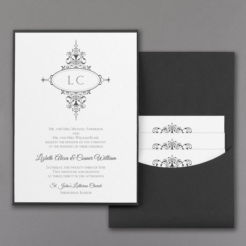 Monogram Flourish - Invitation with Black Pocket - White Shimmer ...