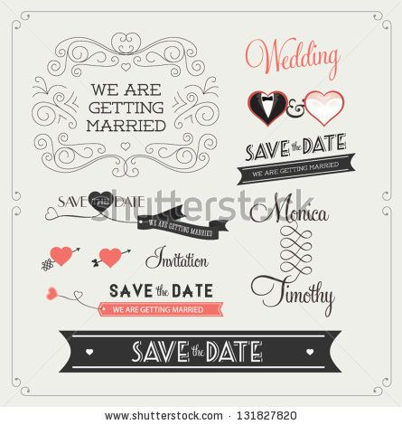 Set of wedding ornaments and decorative elements vintage banner set of wedding ornaments and decorative elements vintage banner ribbon labels frames junglespirit Choice Image