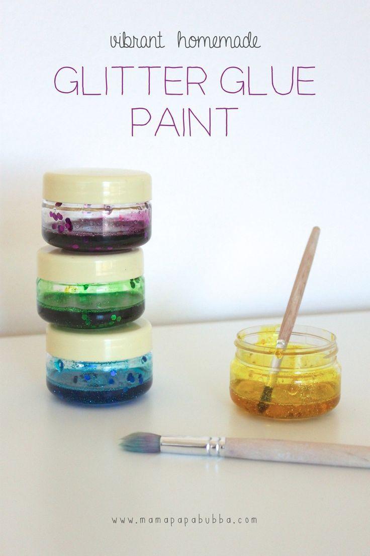 Homemade Glitter Glue Paint   Homemade glitter, Glue ...
