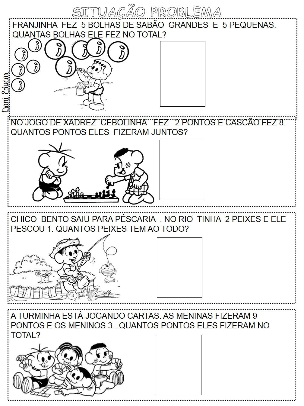 Conhecido Probleminhas de adição com desenhos ilustrado da Turma da Mônica  WG66