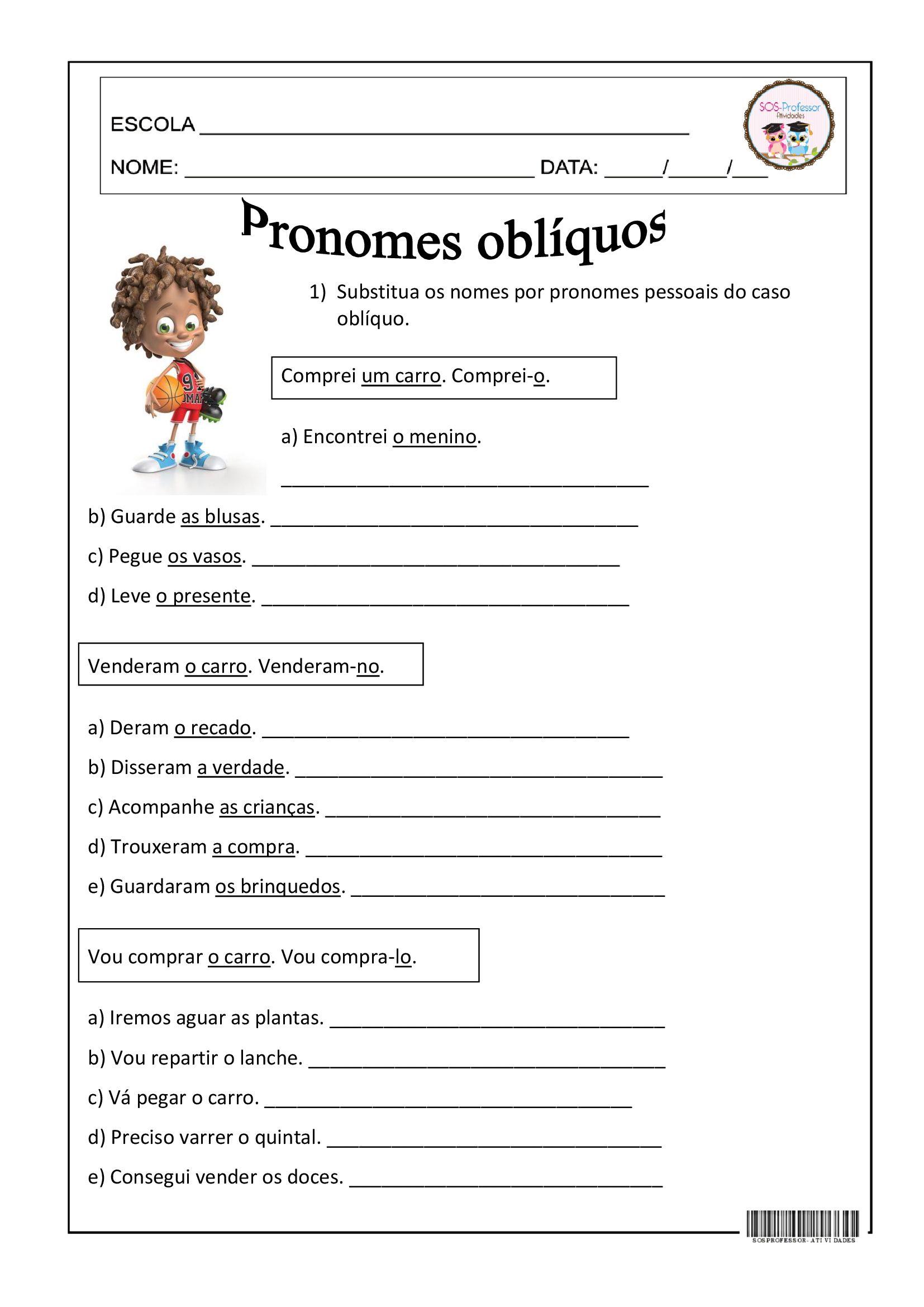 Pronomes Obliquos Pronomes Atividades Pronomes Atividades