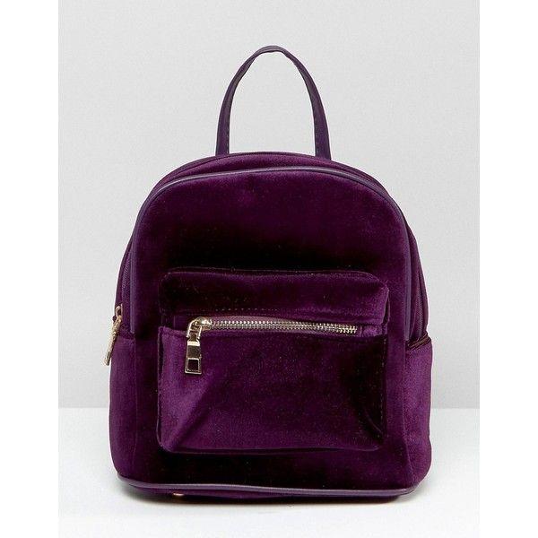 7X Velvet Backpack (£33) ❤ liked on Polyvore featuring bags, backpacks, red, knapsack bag, red backpack, purple velvet bag, red top handle bag and velvet backpack