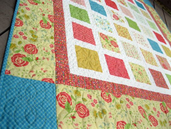 Simply a CHANCE of FLOWERS 54X60 quilt in bright by pinetreelodge, $158.00