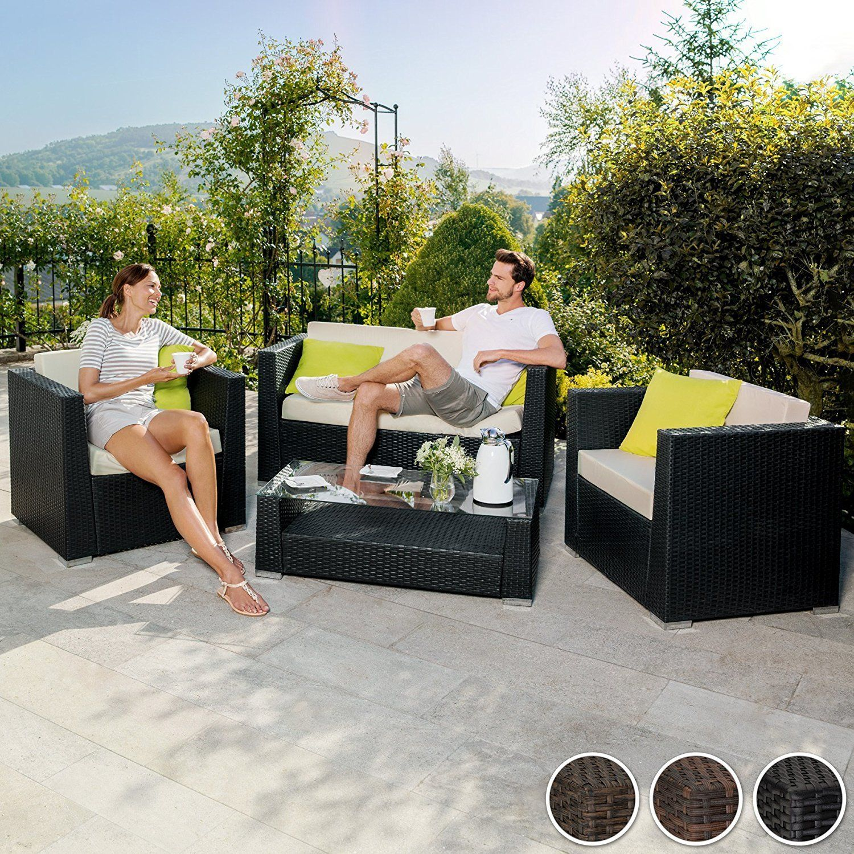 TecTake Luxury Rattan Aluminium Garden Furniture Sofa Set ...