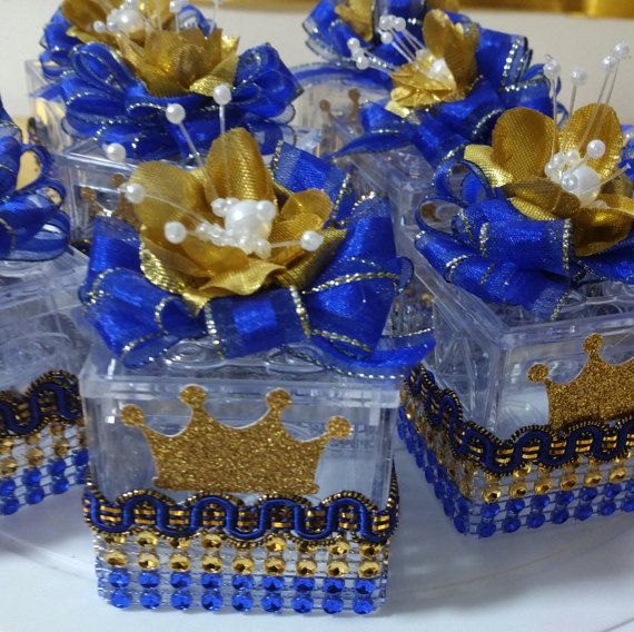 Prince Baby Shower Favors: 12 Royal Prince Box Favors / ROYAL BLUE & By