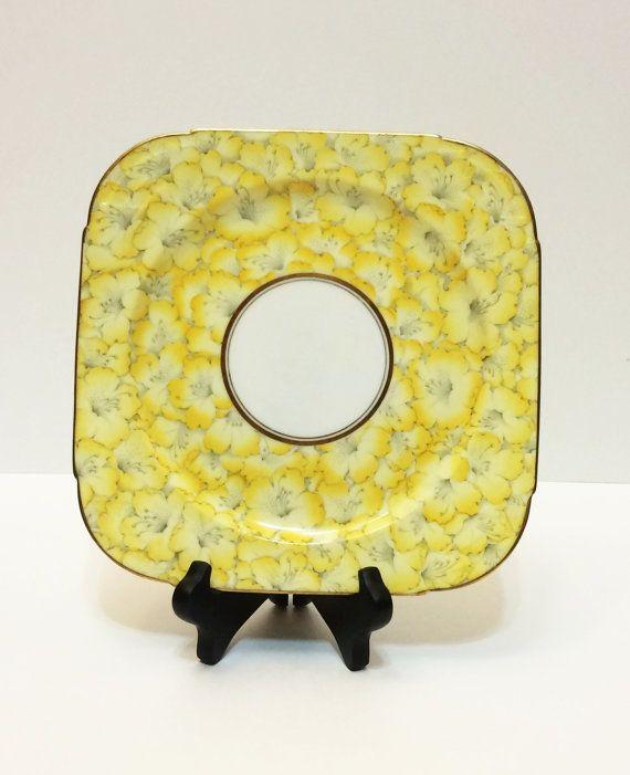 Vintage Paragon Cake Plate, Art Deco, Chintz, Square, Hibiscus Flowers, Yellow, Gold Rims, 1930s