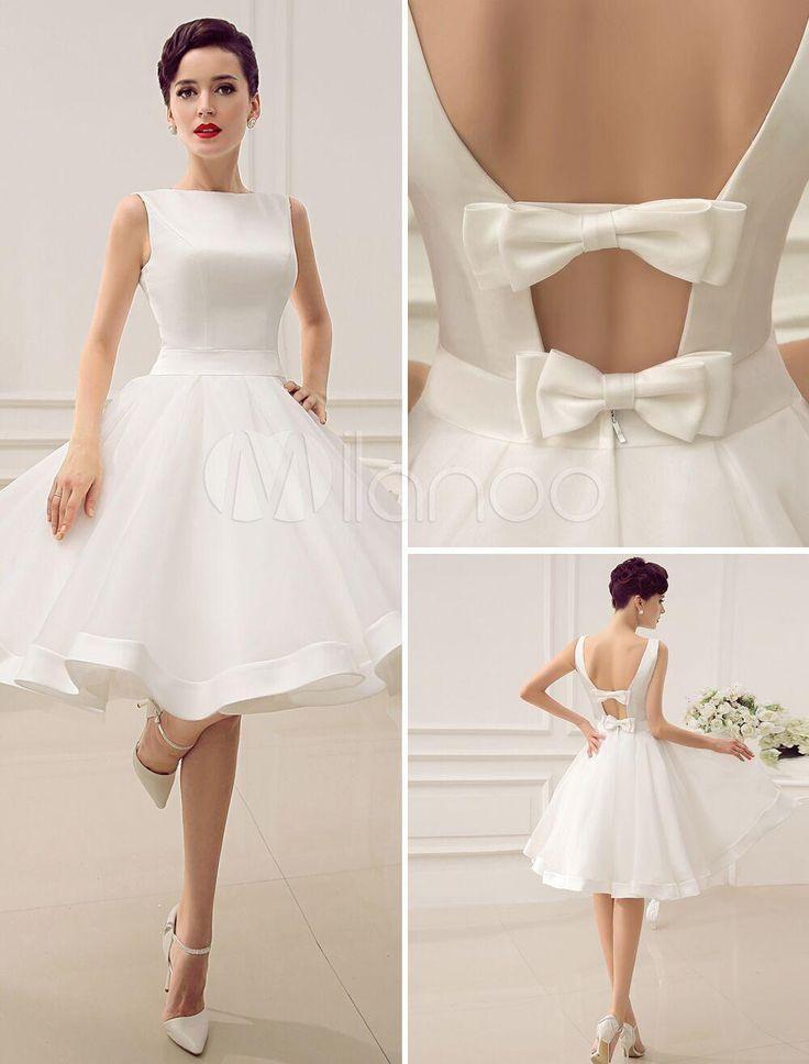 Vintage 1950s Short Wedding Dresses Knee Length Bateau Neckline