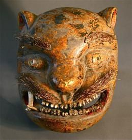 Antique Hand Carved Mexican Cat Mask with cow & pig teeth  www.mydentaltourism.com