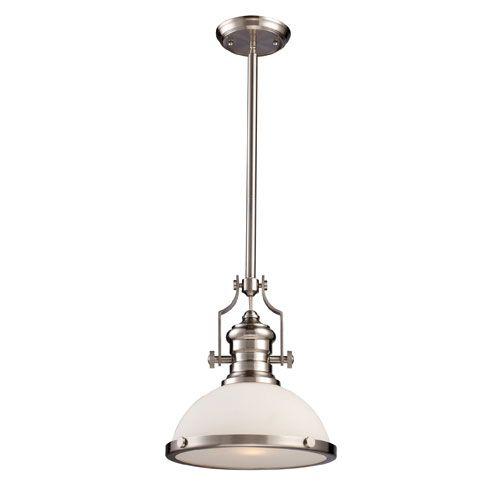 Chadwick Satin Nickel One Light Pendant With Frosted Glass Landmark Lighting  Dome Pendant