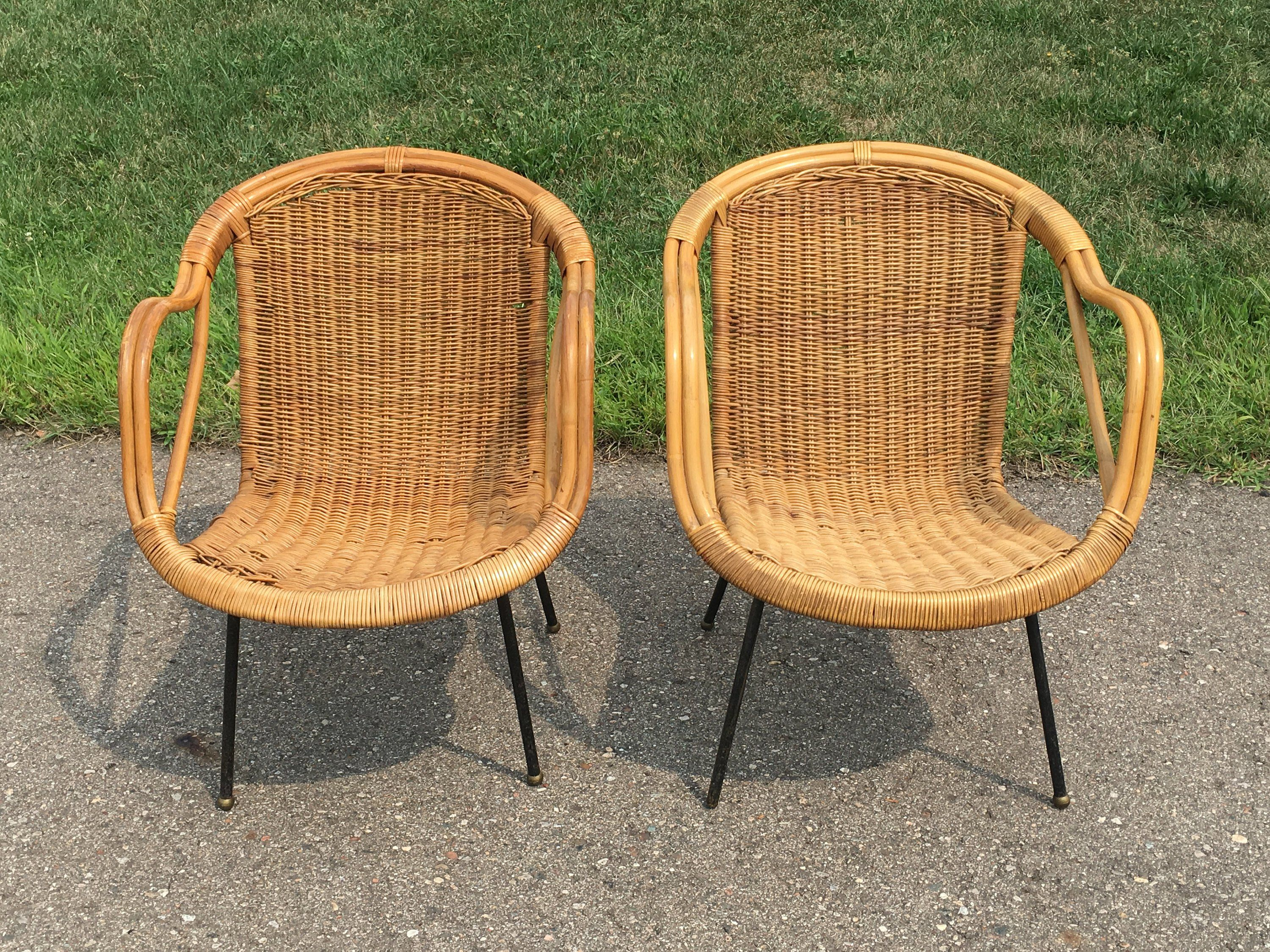 Pair Vintage Rattan Chairs Rattan Furniture Wicker Furniture