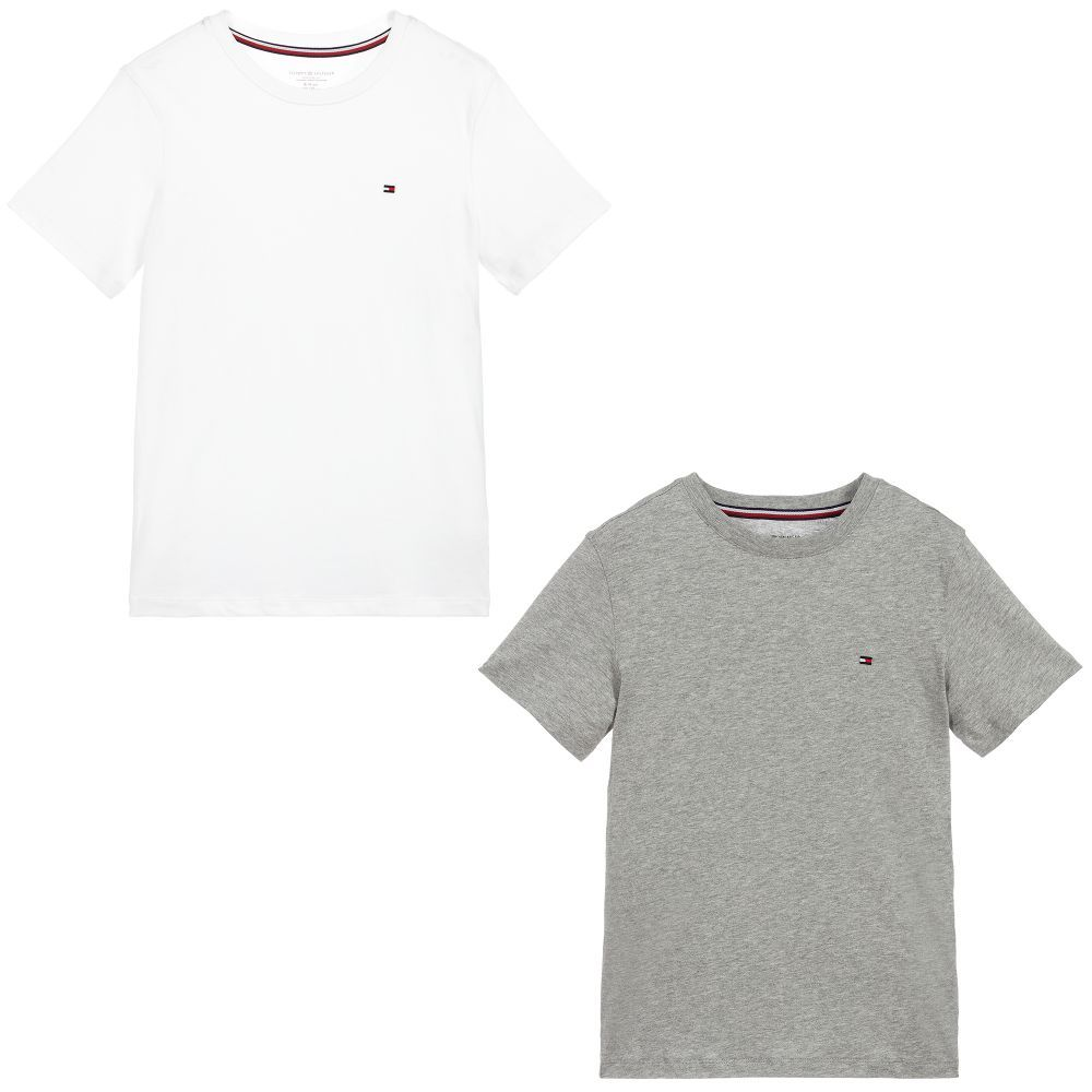 Boys pack of two grey and white T shirts from Tommy Hilfiger