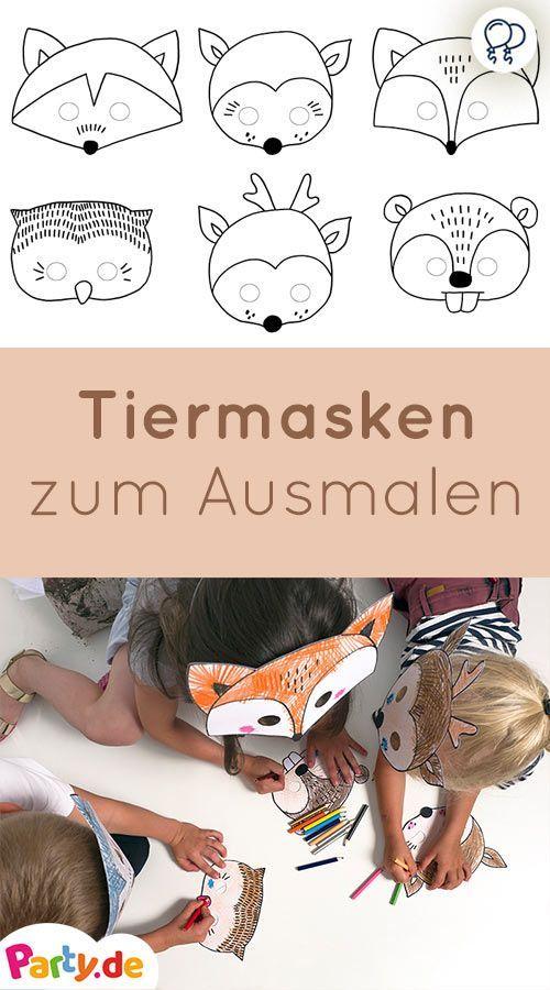 6 Tiermasken Zum Selbermachen Basteln Basteln Geburtstag Kinder