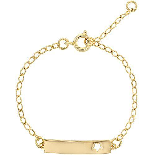 18k Gold Plated Tag ID Identification Bracelet for Children Toddlers Girls 6