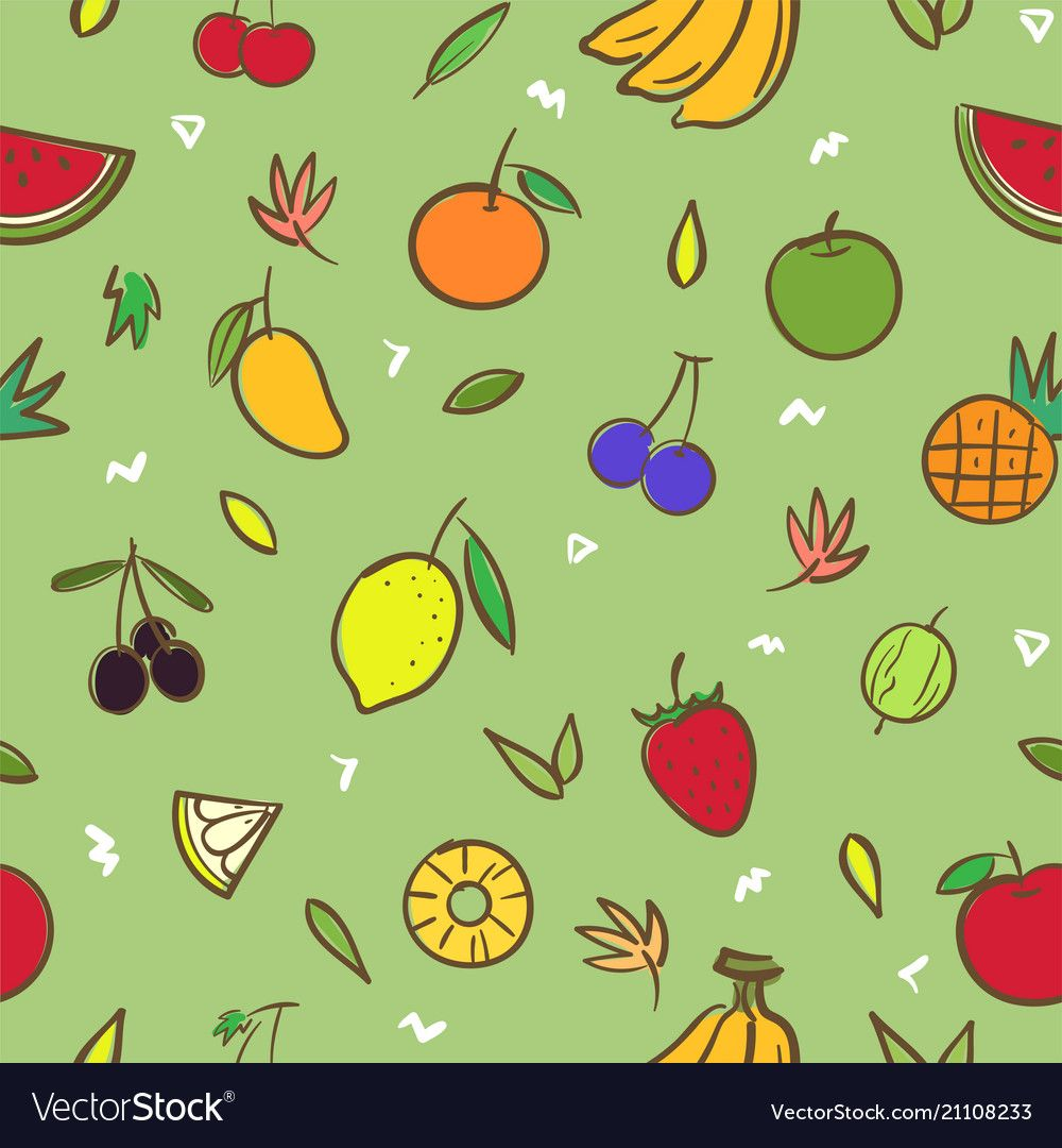 Mix Cute Fruits Seamless Pattern Background Vector Format In Hand Drawing Cartoon Style Download A Fr Vector Background Pattern Background Patterns Cute Fruit