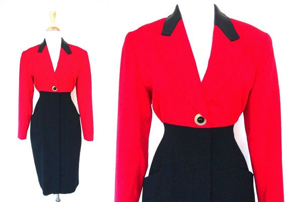 Red and Black Dress by VolereVintage on Etsy, $48.00 #dress #vintage #red #black #vintagedress