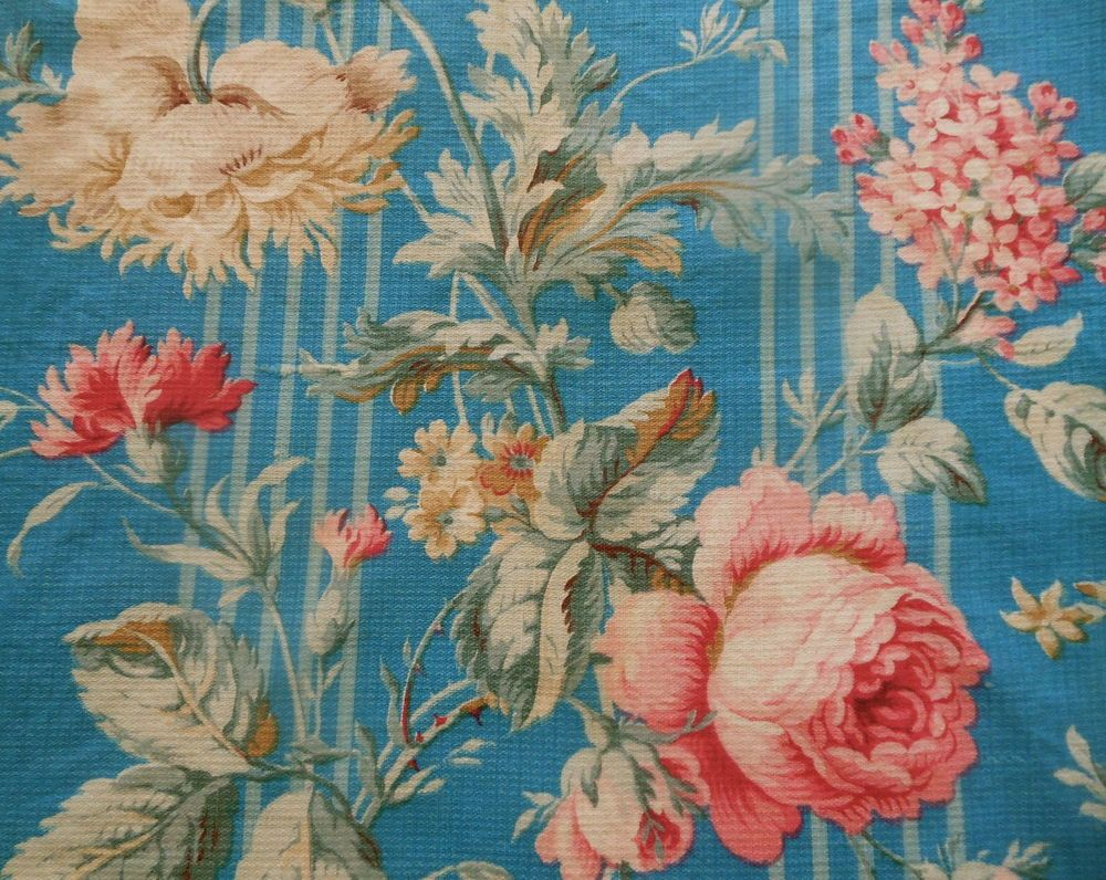 Antique Shabby Cottage Roses Poppy Floral Cotton Fabric~Turquoise Blue Aqua Pink