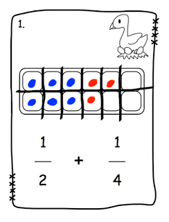 Egg Carton Fraction Addition Task Cards (or Scoot Game