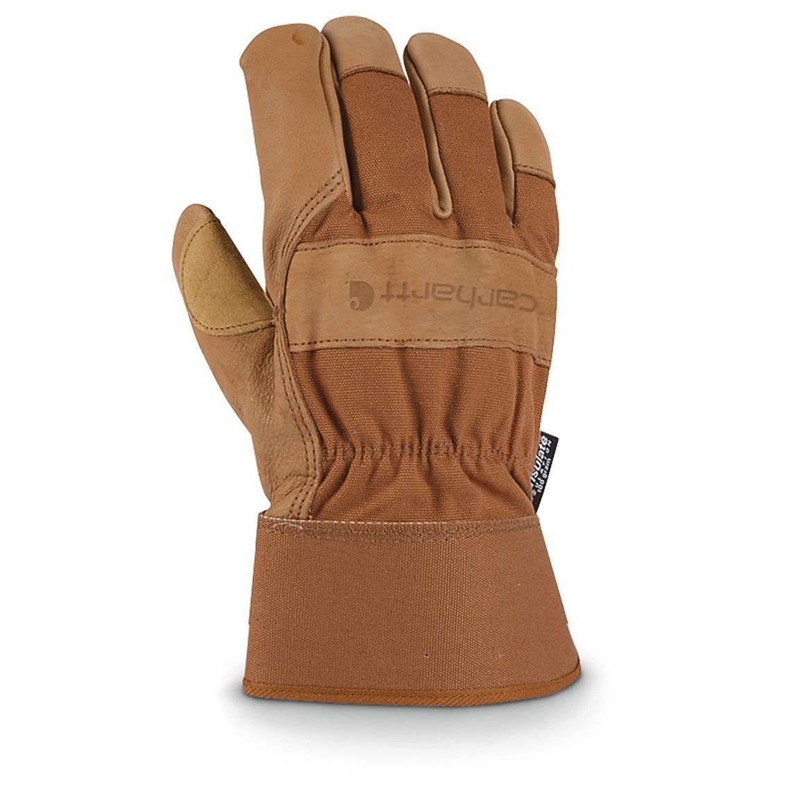 Leather work gloves best - Carhartt 100 Gram Thinsulate Insulated Grain Leather Work Gloves Brown